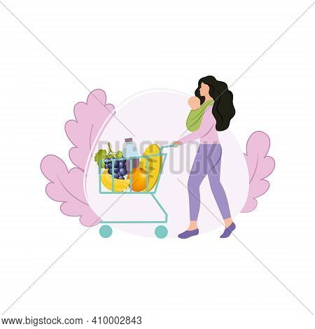 A Beautiful Mother With A Newborn Baby In A Sling In Her Arms Went To The Store For Shopping With A