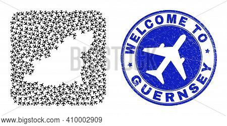 Vector Collage Guernsey Island Map Of Air Shipping Elements And Grunge Welcome Seal Stamp. Mosaic Ge