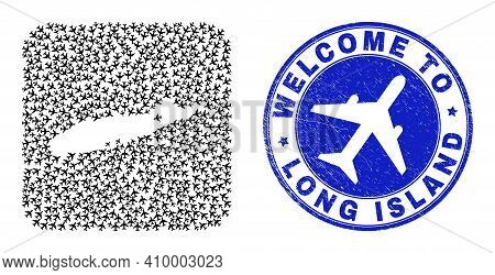 Vector Mosaic Long Island Map Of Air Fly Elements And Grunge Welcome Seal. Mosaic Geographic Long Is