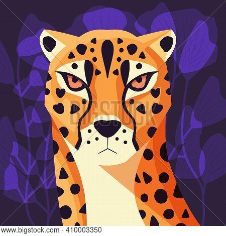 Colorful Portrait Of Beautiful Cheetah On Purple Background. Hand Drawn Wild Animal. Big Cat.