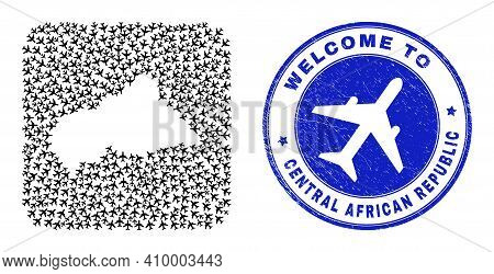 Vector Mosaic Central African Republic Map Of Airlines Items And Grunge Welcome Seal Stamp. Mosaic G