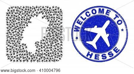 Vector Mosaic Hesse Land Map Of Delivery Items And Grunge Welcome Stamp. Mosaic Geographic Hesse Lan