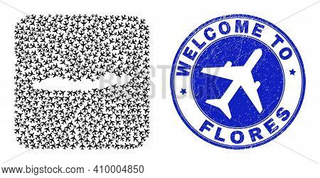 Vector Mosaic Flores Islands Of Indonesia Map Of Transportation Items And Grunge Welcome Stamp.