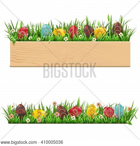 Vector Easter Border With Painted Eggs Isolated On White Background