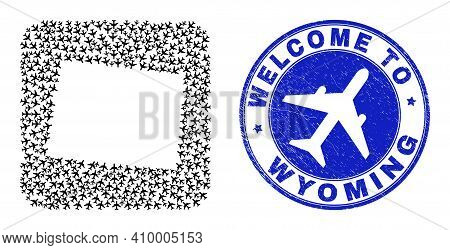 Vector Mosaic Wyoming State Map Of Transportation Items And Grunge Welcome Stamp. Collage Geographic