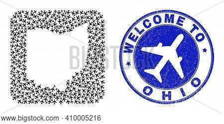 Vector Mosaic Ohio State Map Of Airliner Elements And Grunge Welcome Seal. Mosaic Geographic Ohio St