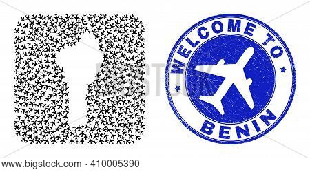Vector Collage Benin Map Of Air Shipping Elements And Grunge Welcome Seal. Collage Geographic Benin