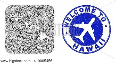 Vector Collage Hawaii State Map Of Airline Items And Grunge Welcome Badge. Mosaic Geographic Hawaii