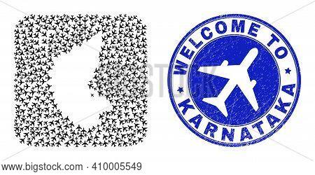 Vector Mosaic Karnataka State Map Of Trip Items And Grunge Welcome Badge. Mosaic Geographic Karnatak