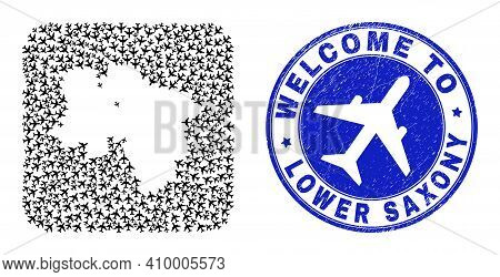 Vector Collage Lower Saxony Land Map Of Airlines Items And Grunge Welcome Stamp. Mosaic Geographic L