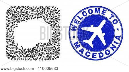Vector Collage Macedonia Map Of Delivery Elements And Grunge Welcome Badge. Collage Geographic Maced