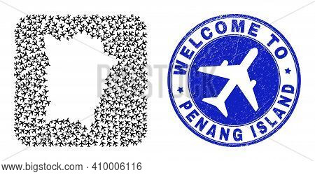 Vector Mosaic Penang Island Map Of Air Vehicle Items And Grunge Welcome Seal. Collage Geographic Pen