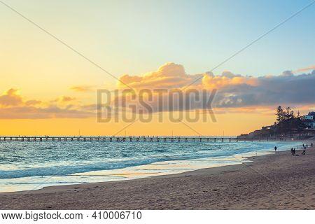 Port Noarlunga Beach With Fishermen At Sunset, South Australia