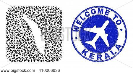 Vector Mosaic Kerala State Map Of Airliner Elements And Grunge Welcome Seal Stamp. Collage Geographi