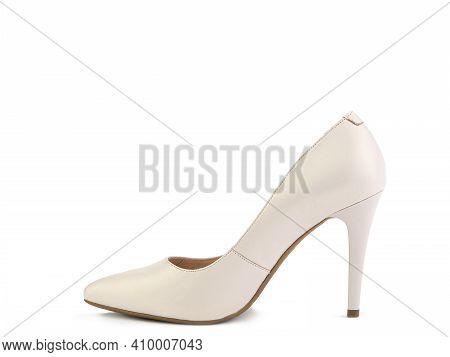 Classic And Elegant High-heeled Women Shoes. Minimalist And Stylish White Shoes On High Heels. Isola