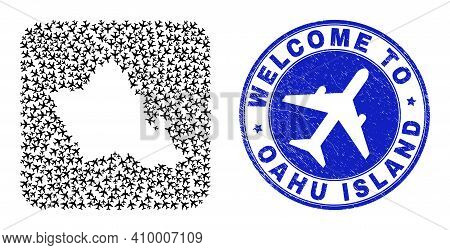 Vector Mosaic Oahu Island Map Of Jorney Elements And Grunge Welcome Stamp. Mosaic Geographic Oahu Is