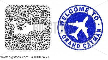 Vector Mosaic Grand Cayman Island Map Of Air Fly Items And Grunge Welcome Seal. Mosaic Geographic Gr