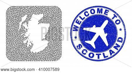 Vector Mosaic Scotland Map Of Air Fly Items And Grunge Welcome Badge. Mosaic Geographic Scotland Map