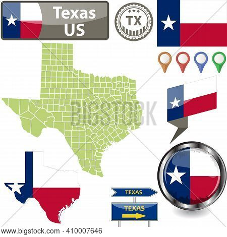 Map Of Texas State, Us With Flag And Counties. Vector Image