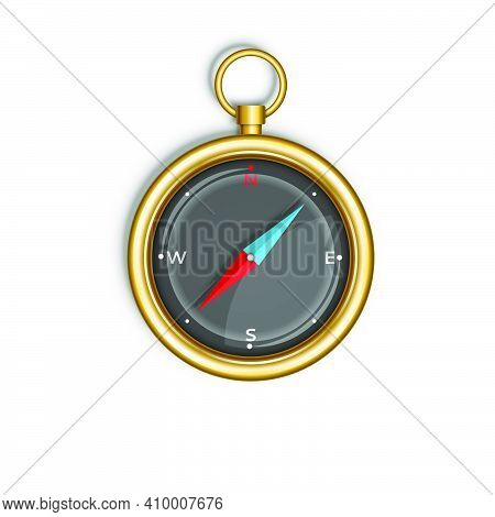 Compass Isolated On White Background Round Gold Case With Blue And Red Arrow Top View, Tourist Devic