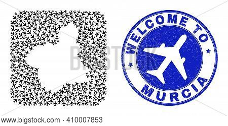 Vector Mosaic Murcia Province Map Of Airport Items And Grunge Welcome Seal. Mosaic Geographic Murcia