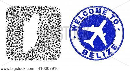 Vector Collage Belize Map Of Airline Items And Grunge Welcome Stamp. Collage Geographic Belize Map C