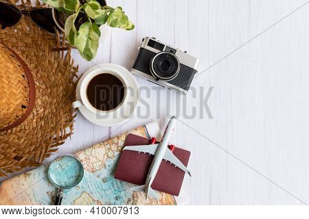 Traveler Accessories And Cup Coffee With Tourism Backpack And Visiting For Planning Airplane Trips T