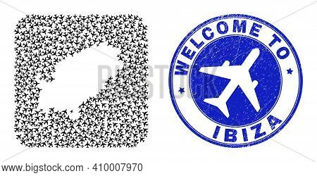 Vector Mosaic Ibiza Island Map Of Air Fly Elements And Grunge Welcome Seal Stamp. Collage Geographic