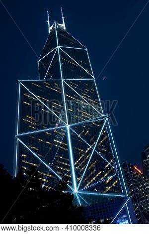 Hong Kong, Admiralty, China - December 3, 2008: Bank Of China Building Designed By Architect Im Pei,