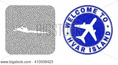 Vector Collage Hvar Island Map Of Aircraft Elements And Grunge Welcome Seal. Mosaic Geographic Hvar