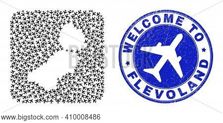 Vector Mosaic Flevoland Province Map Of Airliner Items And Grunge Welcome Seal Stamp. Mosaic Geograp
