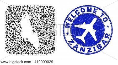 Vector Collage Zanzibar Island Map Of Air Vehicle Elements And Grunge Welcome Seal. Collage Geograph