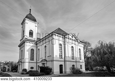 A Historic, Former Evangelical Church, Now A Roman Catholic In Poznan, Monochrome
