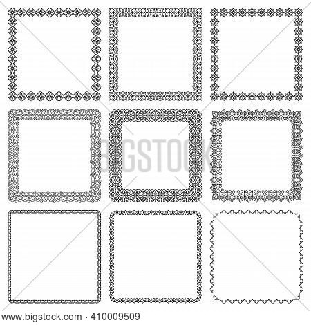 Vector Set Of Square Frames With Geometric Traditional Oriental Ornament. Elegant Isolated Linear Bo