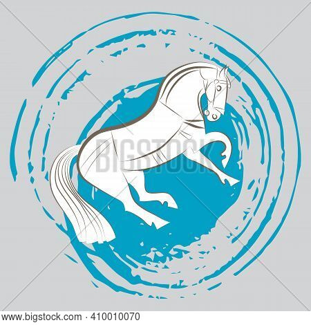 Young White Stallion. Strong Horse Reared Up. Hand Drawing Contour Silhouette Of Graceful Mustang. W