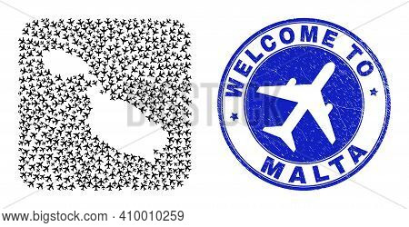 Vector Mosaic Malta Map Of Air Plane Elements And Grunge Welcome Seal Stamp. Mosaic Geographic Malta