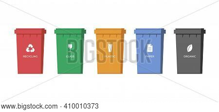 Trash Sorting Containers. Paper, Glass, Plastic And Organic Garbage Colourful Bins For Recycling. Ru