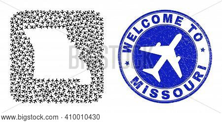 Vector Collage Missouri State Map Of Airways Elements And Grunge Welcome Badge. Collage Geographic M