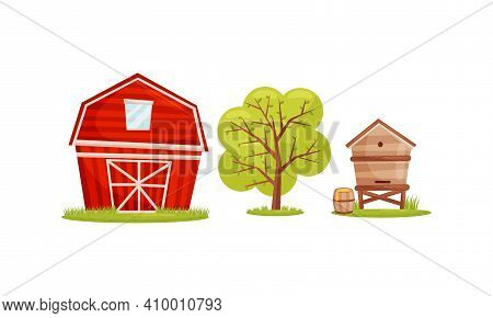 Timbered Red Barn Or Granary For Crop Storage And Beehive As Village Elements Vector Set