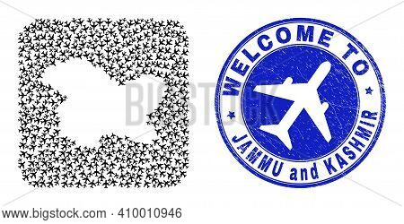 Vector Collage Jammu And Kashmir State Map Of Elements And Grunge Welcome Seal Stamp. Collage Geogra