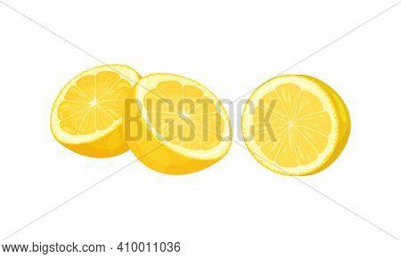Halved Lemon Citrus Fruit With Juicy Flesh Vector Set