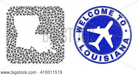Vector Collage Louisiana State Map Of Air Flight Elements And Grunge Welcome Seal. Mosaic Geographic