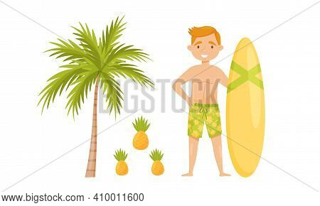 Bali Symbols With Palm Tree, Pineapple And Man With Surfboard Vector Set