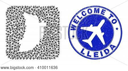 Vector Mosaic Lleida Province Map Of Airplane Elements And Grunge Welcome Badge. Mosaic Geographic L