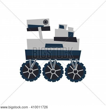 Mars Rover To Explore Mars. Abstract 2d Flat