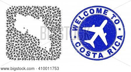 Vector Mosaic Costa Rica Map Of Air Shipping Items And Grunge Welcome Stamp. Mosaic Geographic Costa