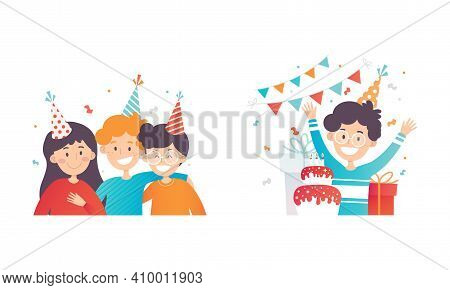Excited Children In Birthday Hat With Wrapped Gift Box Celebrating Festive Holiday Vector Set