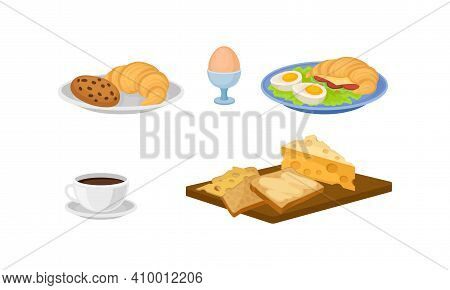 Breakfast With Croissant, Egg, Coffee Cup And Cheese Slab Vector Set