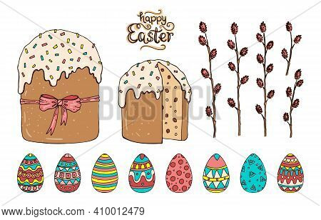 Easter Christian Vector Set With Easter Cakes, Colored Eggs And Willow Twigs.