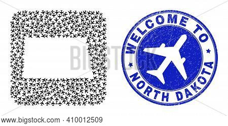 Vector Mosaic North Dakota State Map Of Airflight Items And Grunge Welcome Stamp. Mosaic Geographic